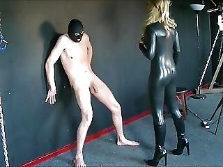 Blonde Mistress Destroys Slave With Kicks And Punches
