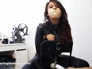 Vibed With Mouth Stuffed Medical Tape Gag In Shiny Straightjacket Bondage