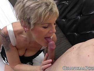 Hot Granny Handles Big Young Cock With Expertise