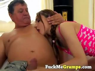 Old Man Surprised By Cute Teen Girl