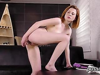 European Cutie Enjoys Bizzare Fuck Toy And Slides Oversized Toy In Twat