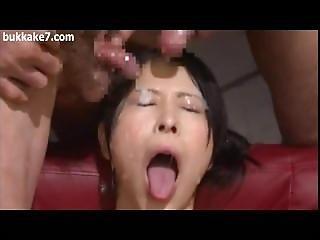 Busty Japan Girl Cum Shower Bukkake