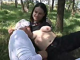 Outdoor Brunette Milf Breastfeed Anal Strap On