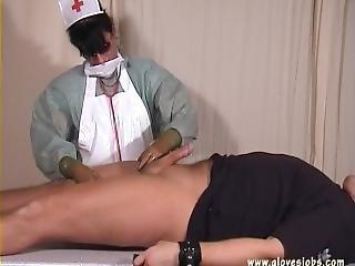 Gloved Nurse Milk Her Patient