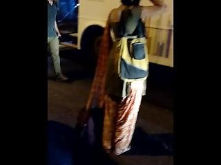 Hot Indian Girl Shows Her Ass At Bus Stop.