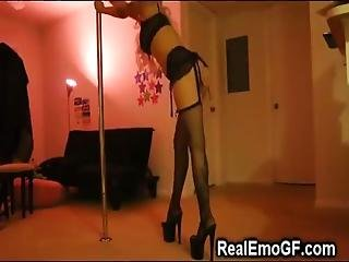 Young And Busty Alternative Blonde In Black Lingerie And High Heels Performs Amazing Pole Dancing At Home Then Masturbates On Cam!