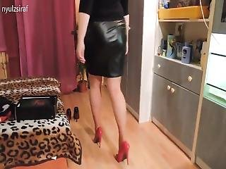 Leather Skirt And Heels 2