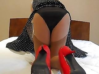 Black Satin Knickers Red Shoes