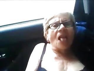 auto, nonnina, masturbazione, in pubblico, schizzo