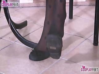 Sexy Blonde Schoolgirl Wears Just A Miniskirt, Stockings And Ballet Flats She Takes Them Off So That You Can Clearly See Her Nylon Soles