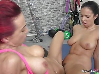 Lesbians Tribbing At Gym After Training