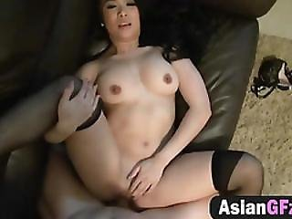 Beautiful Asian Girlfriend Sucks Dick And Moans While Getting Fucked