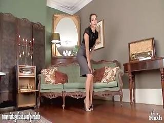 brunette, hæle, nylon, slim, vintage