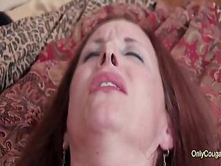 Redhead Mature Cougar In Strockings And Heels Gives Herself Intense Orgasm