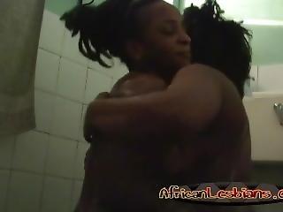 Ebony Chicks Having Fun In Shower