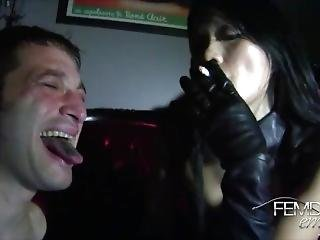 Ashtray Slave For Leather Clad Asian Goddess