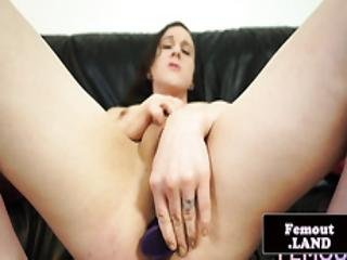 Tattooed Femboy Dildoing Her Tight Asshole