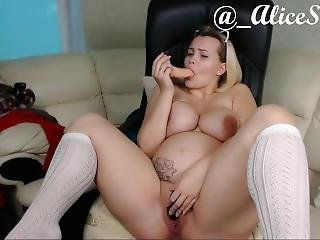 Amazing Pregnant Lady Play With Own Pussy