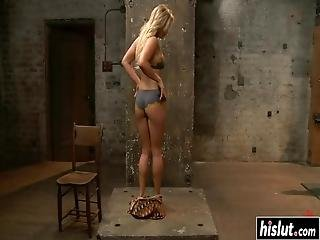 Blonde Cameron Gets Tied Up And Drilled With Toys While She Moans