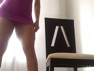 Ana Cozar In A Purple Short Dress