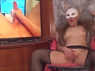amatör, brud, blondin, fetish, mask, onani, solo