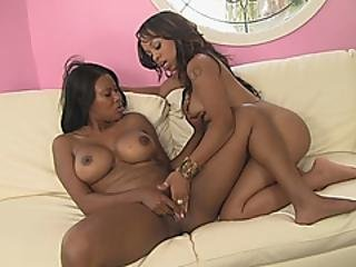 Smoking Hot Ebony Lesbians Playing Pussy