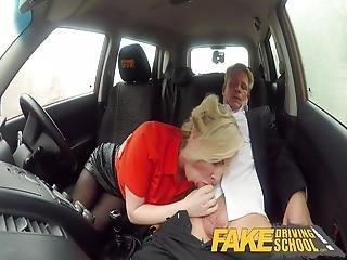 Fake Driving School Mature Guy Spunks Over Blonde Bombshell