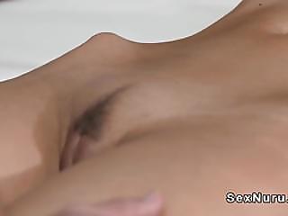 Slim Oiled Brunette Banged By Masseur