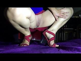 Slowmo Squirt With Feet Fetish Red Skirt And Sandals By Hotwifevenus