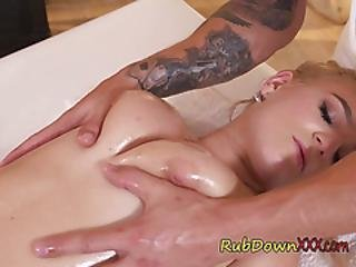 Lustful Blondie Sandra Bell Blows Hung Masseur