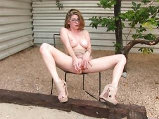 Busty Chick Masturbates In Her Backyard
