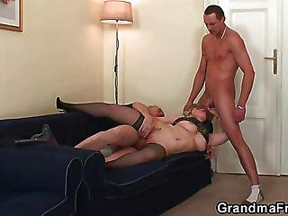 Cumshot On Her Granny Face
