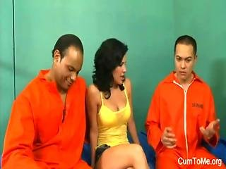 Young Cute Whore For Two Sex-hungry Prisoners By New