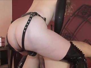 Mistress T Breaks Slaves Virgin Ass With A Strapon