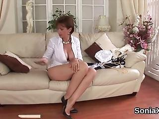 Chesty Bisexual Married Woman Lady Sonia Caresses Her Monster Balloons And Pleasures Yummy Vagina In Underwear