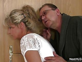She Spreads Her Legs For His Old Parents