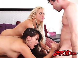 Hot Cougar Sandwich Threesome!
