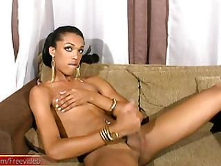 Kinky Black Tranny Slaps Tight Ass And Strokes Her Girl Rod