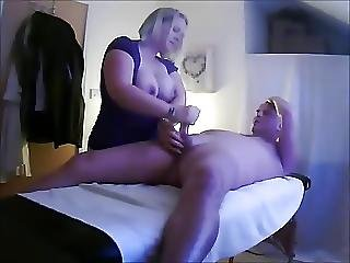 Slutty Masseuse Jerks Off Client