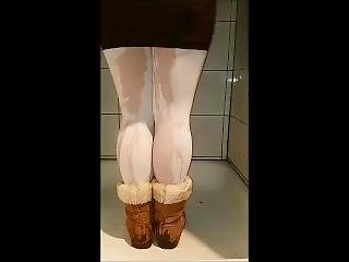 Wetting Her Tights And Boots
