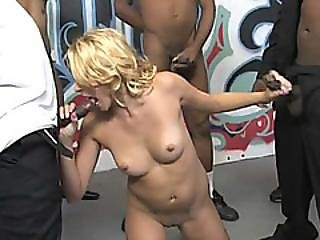 Petite Blonde Babe With Nice Tits Loves To Satisfy Black Rods With Her Delicate Mouth