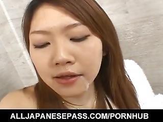Rio Sakaki Sucks Cock With Passion Then Swallows