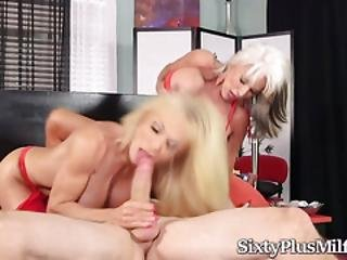 Two Horny Mature Blondes Fucked In 3some