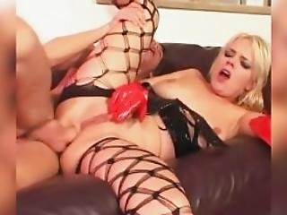 Blonde Fucked On A Couch In Latex And Fencenets