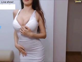 Sensual Perfect Girl In Skintight White Dress Cums Wildly On Chaturbate