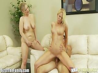 Step Mom And Daughter Ride The Same Cock