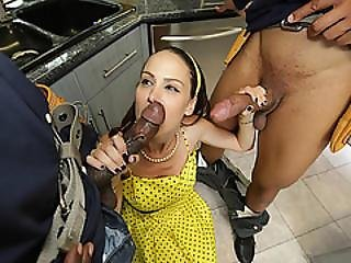 Lonely Wife Rides Two Big Cocks