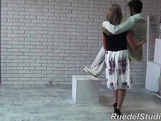 Strong Blonde Cradle Carries Guy
