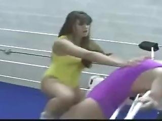 Belly Punch And Tit Grab In Wrestling