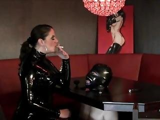 Latex Domina Objectifies And Degrades Pathetic Slave 01